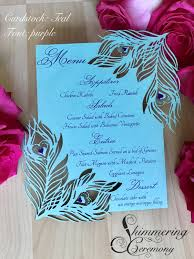 peacock wedding peacock wedding menu card teal and purple feather laser cut table