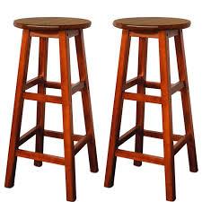 2 tabourets de bar en bois d acacia assise ronde style colonial