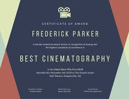 award certificate samples geometric film fest award certificate templates by canva