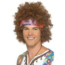 mens headband mens 60 s brown hippy afro wig headband necklace set fancy dress