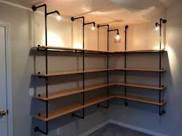 unique shelving made from pipes 65 in modern home with shelving
