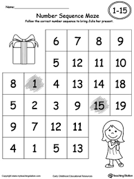 practice number sequence with number maze 1 15 part 2 printable
