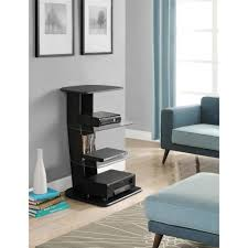 Altra Home Decor Altra Galaxy Media Storage Bookcase With Glass Shelves Black