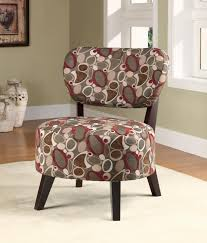 funiture traditonal printed fabric armless accent chair on white