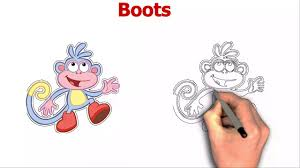 boots from dora the explorer cartoon drawing youtube