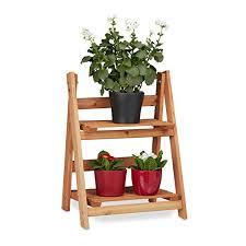 flower stand relaxdays wooden flower display rack indoor flower stand 2 tier