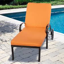 Modern Patio Lounge Chair Furniture Black Iron With Orange Cushion Outdoor Chaise Lounge