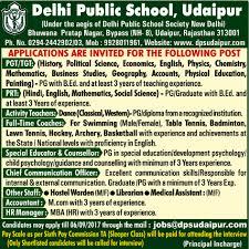 jobs in delhi public udaipur vacancies in delhi public