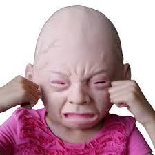 new latex crying weeping old baby full face mask halloween party