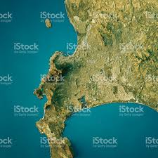 Africa Topographic Map by Cape Town Topographic Map Natural Color Top View Stock Photo