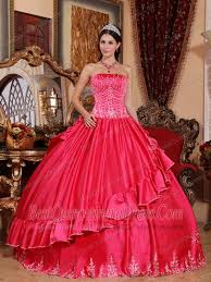 coral quince dresses gown strapless floor length satin and taffeta embroidery