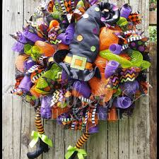 halloween deco mesh witch wreath from southernthrills on etsy