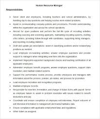 download sample hr manager job description template for free