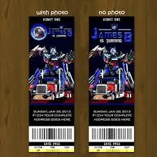 printable transformers birthday banner optimus prime transformers printable birthday ticket invitation
