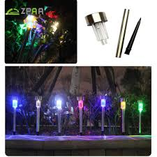 10 pcs outdoor stainless steel solar power 7 color changing led