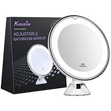 bright light magnifying mirror amazon com kedsum 6 8 10x magnifying led lighted makeup mirror