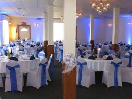 uplighting in blue for nicole and bryan u0027s wedding reception at