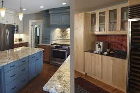 blue kitchen cabinets brown granite interesting remodeling kitchen decors after and before added