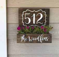 Planter S House House Number Planter Wooden Address Planter Box By Jesspaintin On