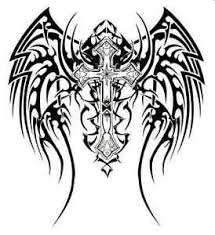 tribal wings and cross tattoo style a4 tshirt transfer angel wing