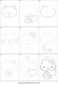 draw kitty heart printable step step drawing