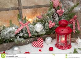 Christmas Decorations On Window by Red Rustic Christmas Decoration On Window Sill With Red Checked