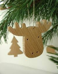 tree decorations wooden animals and tree set of 5