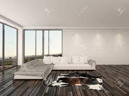 modern minimalist living room interior with a large comfortable