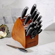 calphalon kitchen knives calphalon contemporary 17 knife block set crate and barrel
