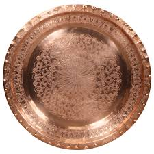 early 20th century large moroccan copper antique tray with islamic