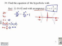 find the equation of a hyperbola given the foci and the asymptotes 9 3 30