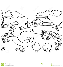 chicken coloring pages vector stock vector image 59305474