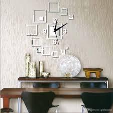 3d wall clock wall mirror sticker clock watch mirror square art
