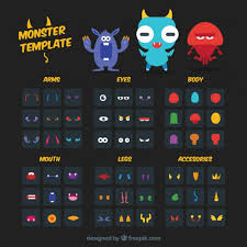 monster template monster template kit free vector monster