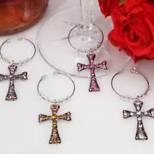 dazzling cross wine charms