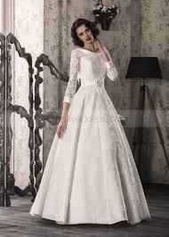 Satin Wedding Dresses A Line Long Sleeves Corset Back Floor Length Ivory Lace Satin