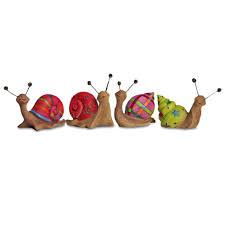 set of four bright coloured resin snail garden ornaments gardens2you