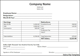 employee basic pay slip format in excel project management templates