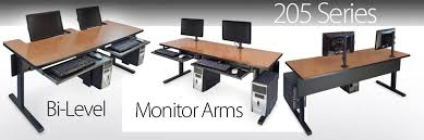 Recessed Monitor Computer Desk Multi Use Classroom Furniture Computer Furniture Tables Workstations