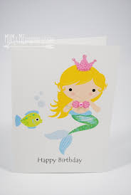 happy birthday card mermaid with fish hbc094 mum and