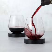 wine glasses aerating wine glasses with coasters set of 2 tastemade
