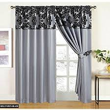 Silver Black Curtains Half Flock With Plain Design Damask Ready Made Pencil Pleat