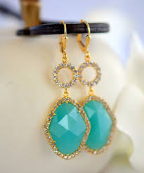 turquoise bridal earrings turquoise bridal earrings with cubic zirconia stones in gold