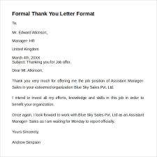 Thank You Letter Official thank you formal besik eighty3 co