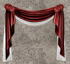 second life marketplace nb curtain drapes red white