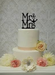 mr and mrs cake anchor heart beach nautical themed topper wedding
