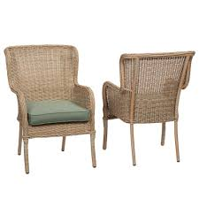hampton bay lemon grove stationary wicker outdoor dining chair