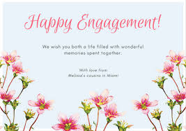 happy engagement card pastel blue with pink watercolor flowers engagement card