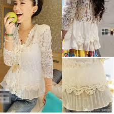 womens cotton blouses 2018 s white lace blouses cotton jacquard blouse lace