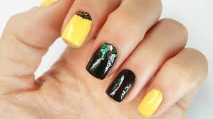 black and yellow nail art designs gemsfor short nails ideas 2016